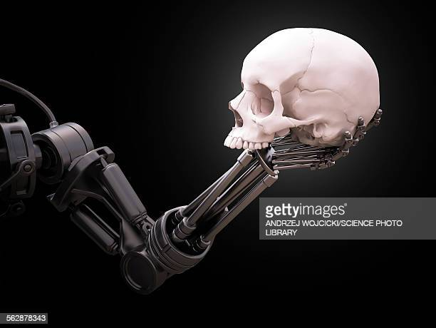 Robotic hand holding skull, illustration