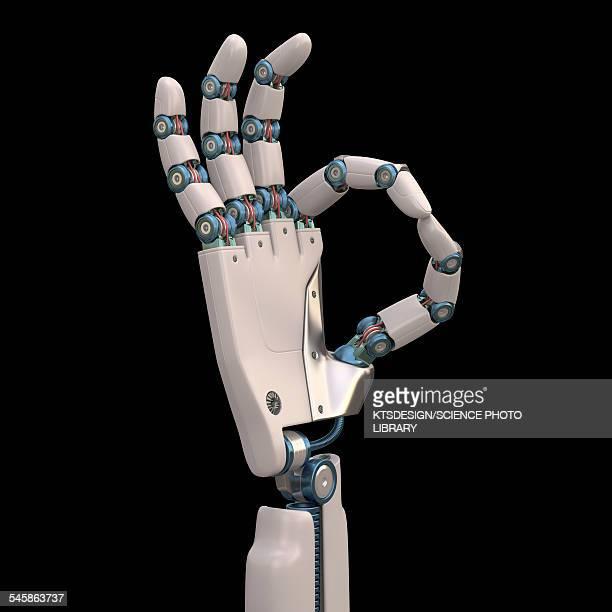 robotic hand, illustration - ok sign stock illustrations, clip art, cartoons, & icons