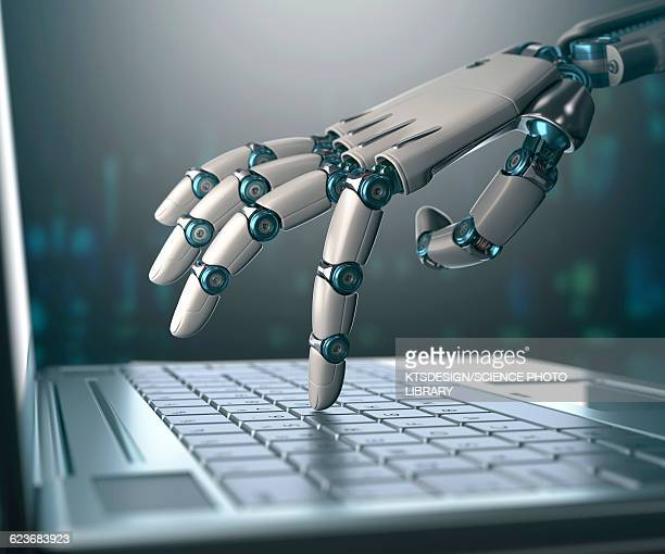 robotic hand using a laptop computer - robot stock illustrations