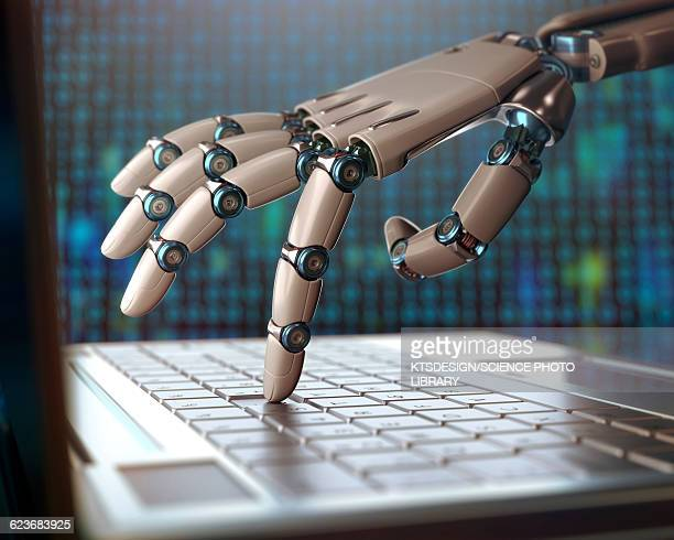 robotic hand using a laptop computer - artificial intelligence stock illustrations