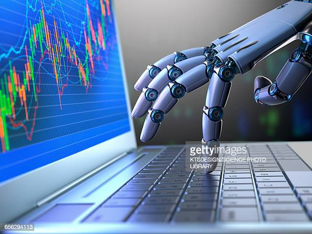 Robotic hand using laptop, illustration