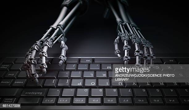 Robotic hands typing, illustration