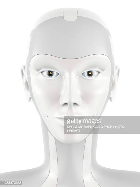 robotic head, illustration - robot stock illustrations