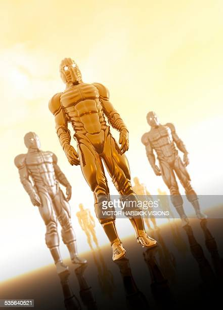 robotic soldiers, artwork - army soldier stock illustrations