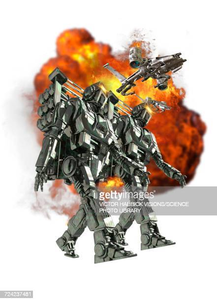robotic soldiers with ball of fire - army soldier stock illustrations