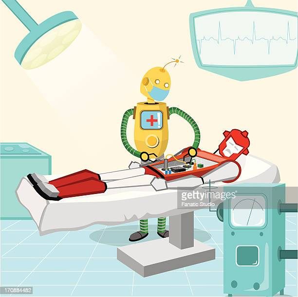 robotic surgeon performing surgery - ロボット手術点のイラスト素材/クリップアート素材/マンガ素材/アイコン素材