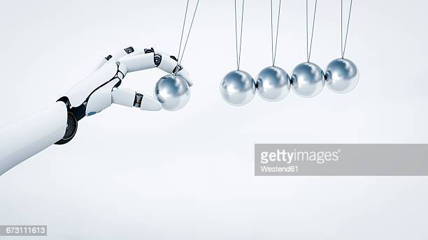 robot's hand pushing newton's cradle, 3d rendering - automated stock illustrations
