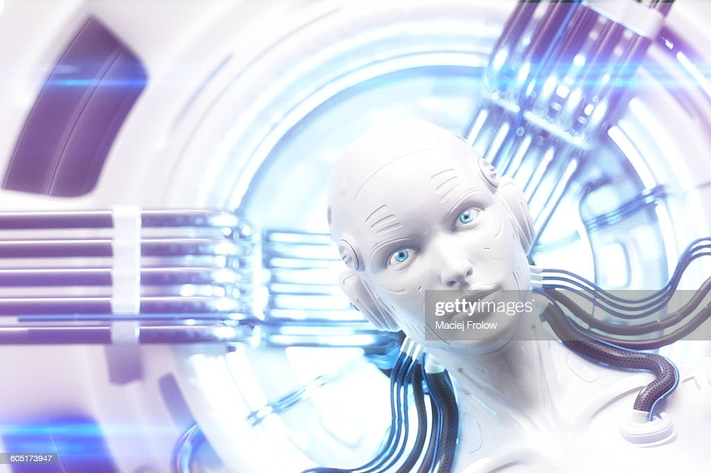 Robot`s head within complex machinery : Stock Illustration