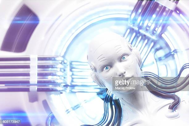 robot`s head within complex machinery - artificial intelligence stock illustrations