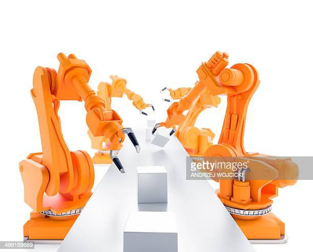robots on production line, artwork - automated stock illustrations