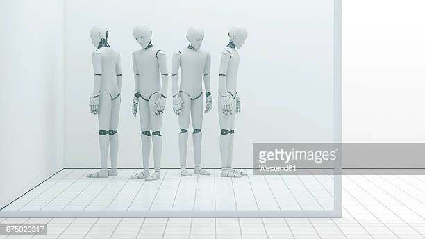 Robots out of order, storeroom, 3D Rendering