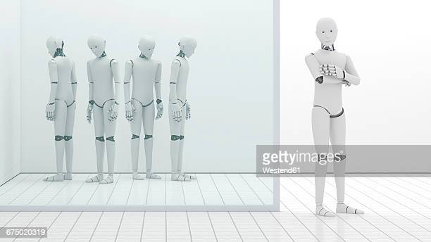 Robots out of order, storeroom, one standing at entrance, 3D Rendering