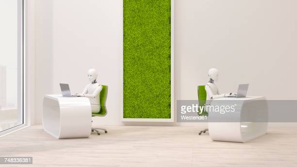 ilustraciones, imágenes clip art, dibujos animados e iconos de stock de robots using laptops in futuristic office , 3d rendering - robot