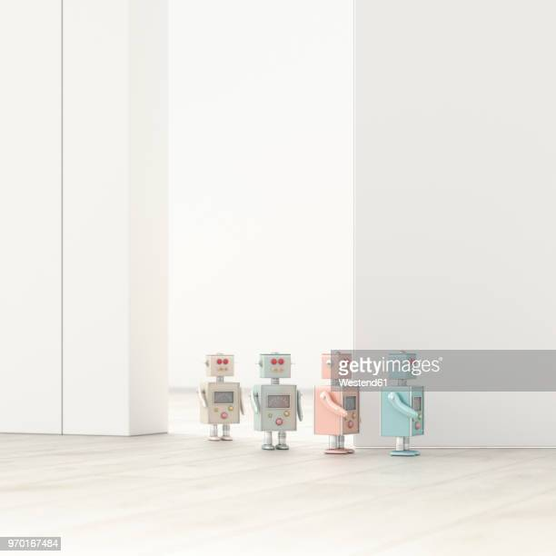 robots walking in a row in an empty room, 3d rendering - following stock illustrations