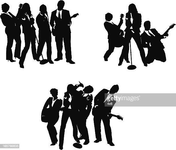 rock band wearing business attire - bass instrument stock illustrations, clip art, cartoons, & icons