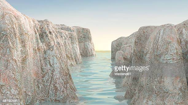 Rock canyon in the sea