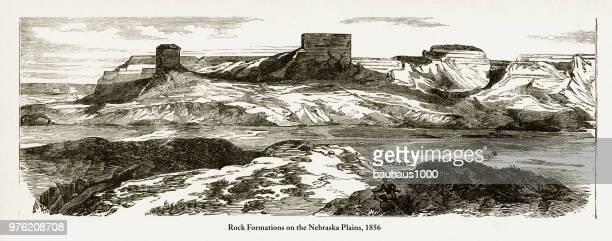 Rock Formations on the Nebraska Plains Victorian Engraving, 1856