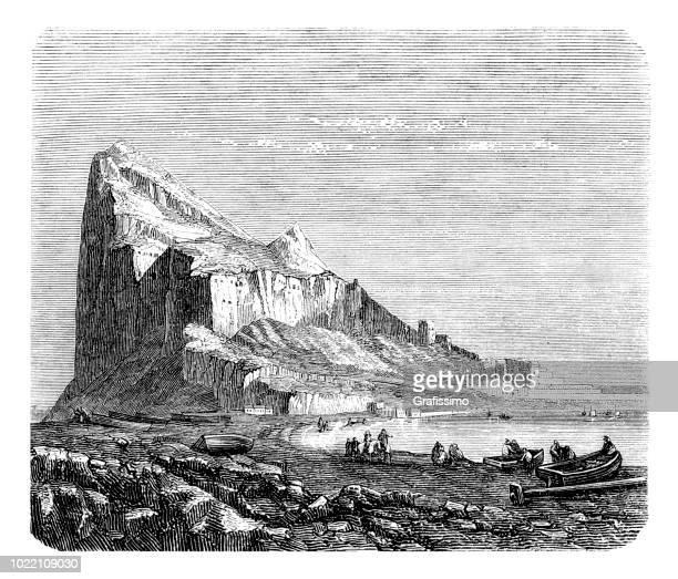 地中海 1875 を彫刻とジブラルタルの岩 - ジブラルタルの岩山点のイラスト素材/クリップアート素材/マンガ素材/アイコン素材