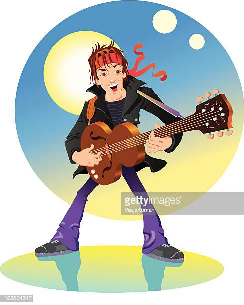 Rock Star Playing a Guitar