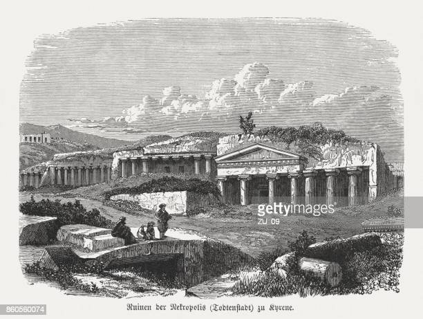 rock tombs in the necropolis of cyrene, libya, published 1886 - ancient greece stock illustrations, clip art, cartoons, & icons