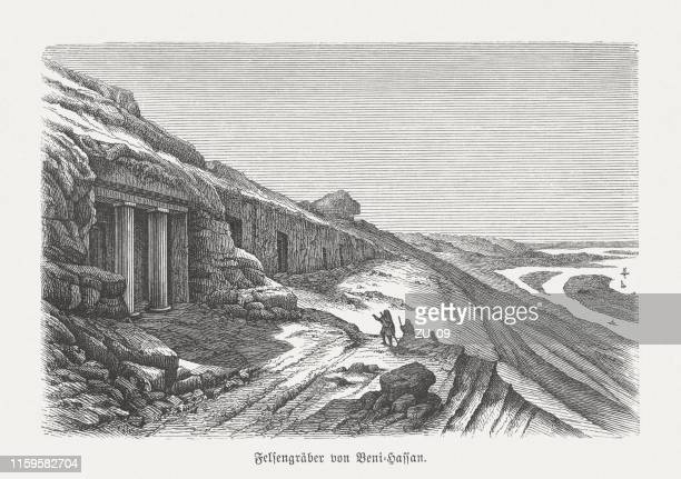 rock tombs of beni hasan, egypt, wood engraving, published in 1879 - nile river stock illustrations, clip art, cartoons, & icons