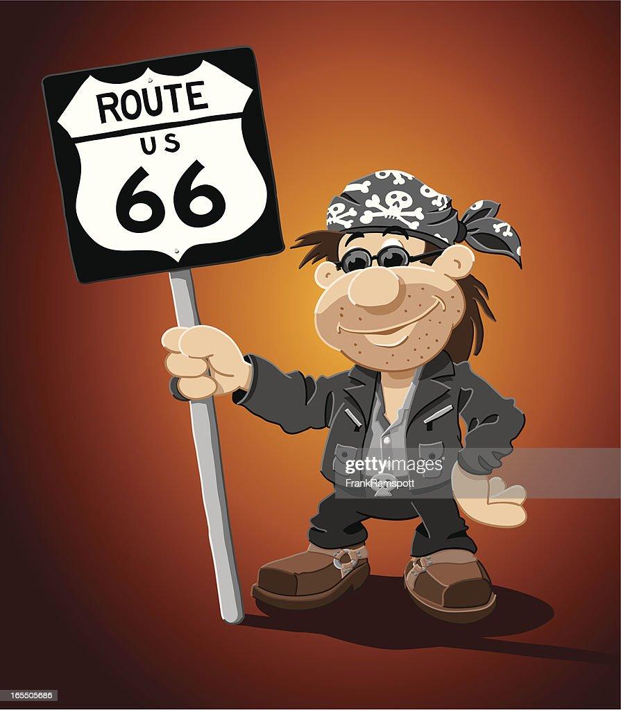 Rocker Comic Mann Route 66 Schild : Stock-Illustration