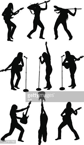 rocker chick playing guitar and singing - musician stock illustrations, clip art, cartoons, & icons