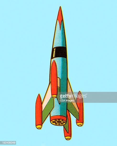illustrazioni stock, clip art, cartoni animati e icone di tendenza di rocket - missile razzo spaziale