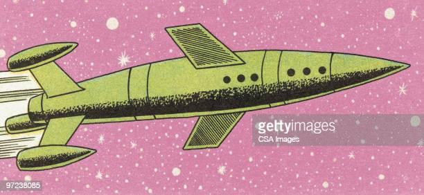illustrazioni stock, clip art, cartoni animati e icone di tendenza di rocket - fumetto creazione artistica