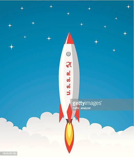 ソ連ロケットを起動します。 - 熱映像点のイラスト素材/クリップアート素材/マンガ素材/アイコン素材