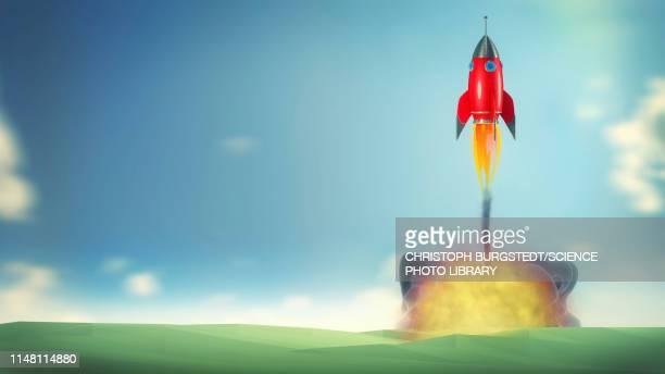 rocket lifting off, illustration - rocket stock illustrations