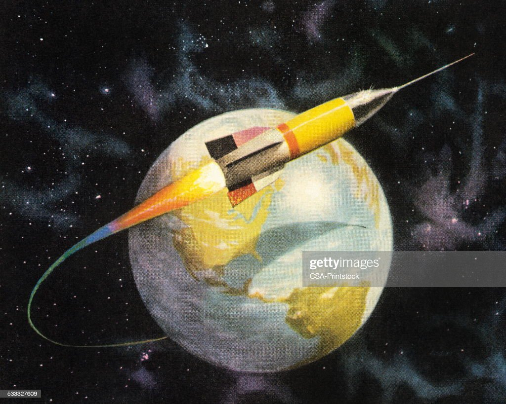 Rocket Orbiting the Earth : stock illustration