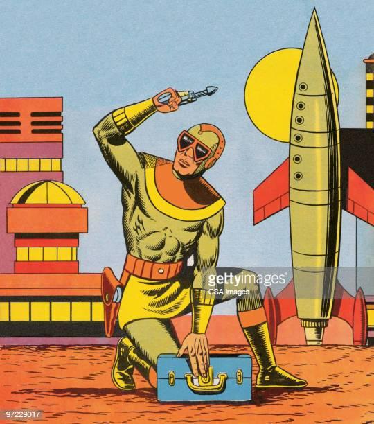 rocketman - heroes stock illustrations