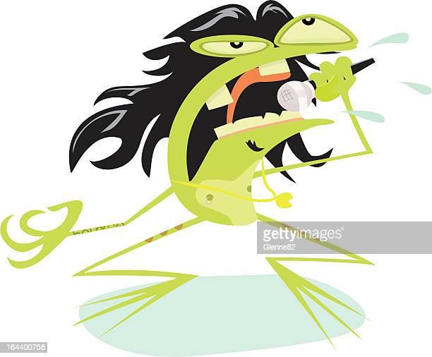 rockstar frog - animal saliva stock illustrations, clip art, cartoons, & icons