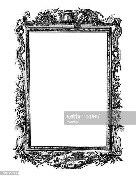 Rococo style antique frame on white