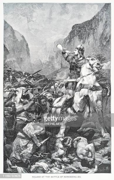 roland at the battle of roscenvalles engraving 1892 - en búsqueda stock illustrations