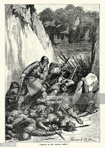 roland at the narrow defile - battle of roncevaux pass - 8th century bc stock illustrations, clip art, cartoons, & icons