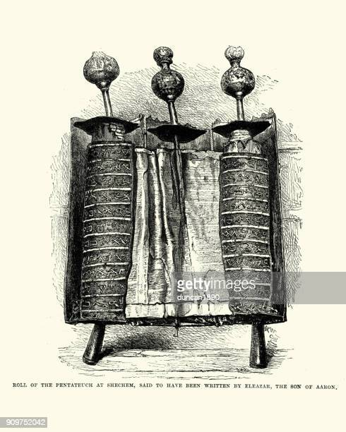 roll of the pentateuch at shechem - torah stock illustrations