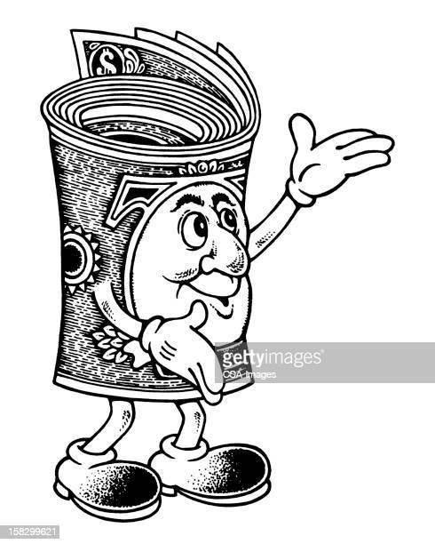 ilustraciones, imágenes clip art, dibujos animados e iconos de stock de rollo dinero gesticular - fajo de billetes