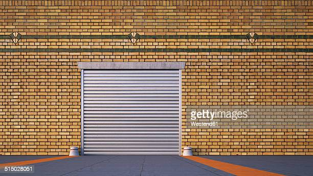 roller shutter and brick slip cladding of an old factory, 3d rendering - road marking stock illustrations