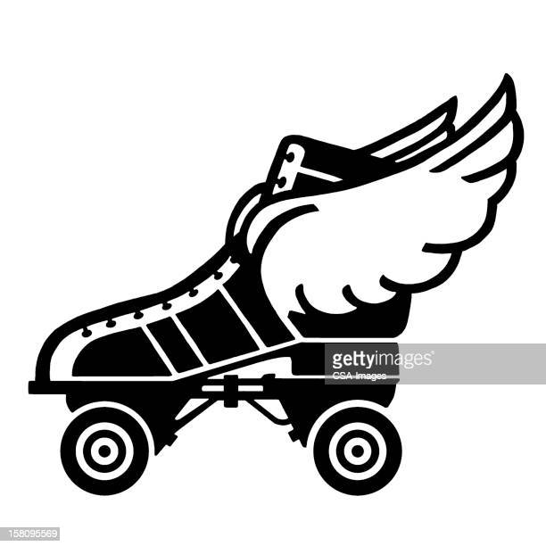 roller skate with wings - animal limb stock illustrations, clip art, cartoons, & icons