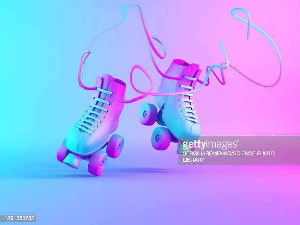 roller skates, illustration - colour gradient stock illustrations