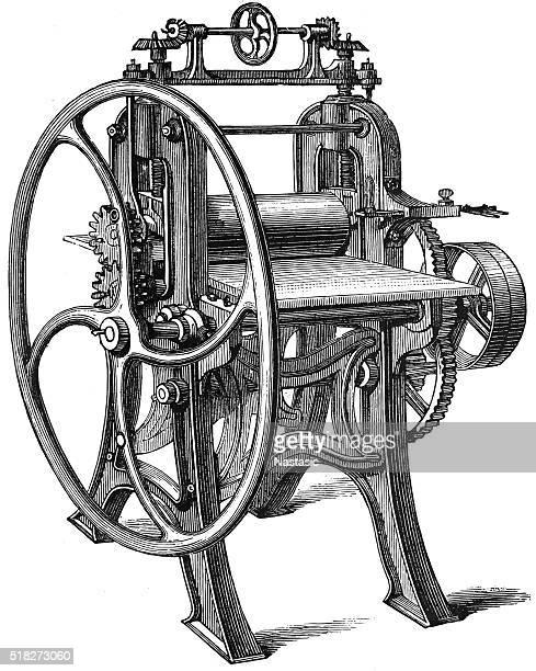 rolling mill - printing press stock illustrations