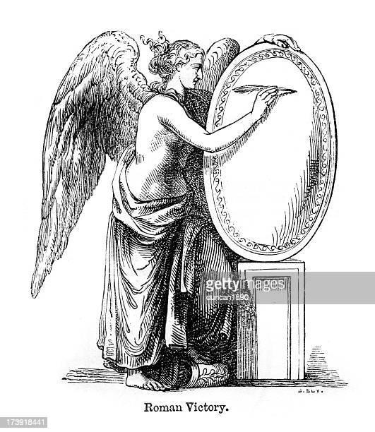 ilustraciones, imágenes clip art, dibujos animados e iconos de stock de roman ángel de la victoria - renacimiento