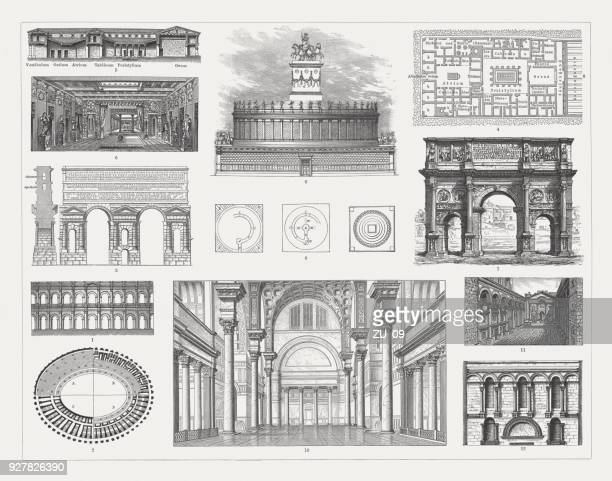 roman architecture, wood emngravings, published in 1897 - roman forum stock illustrations
