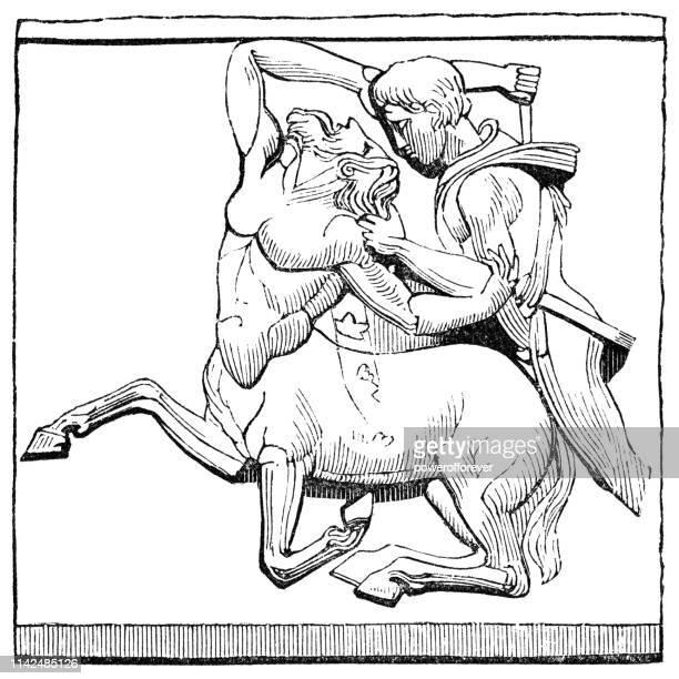 Roman Bas Relief of Theseus Slaying the Centaur (4th Century BC)