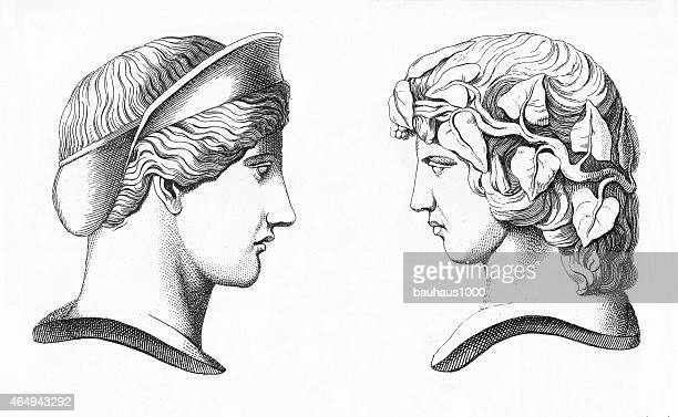 roman busts engraving - greek culture stock illustrations, clip art, cartoons, & icons