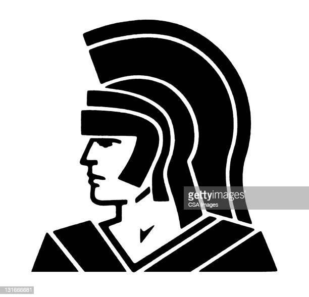 roman centurion - army helmet stock illustrations