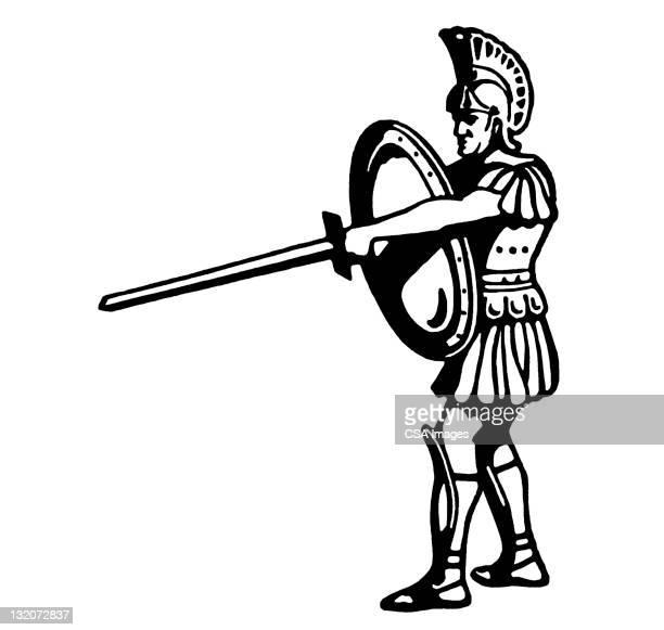 roman centurion - trojan war stock illustrations, clip art, cartoons, & icons