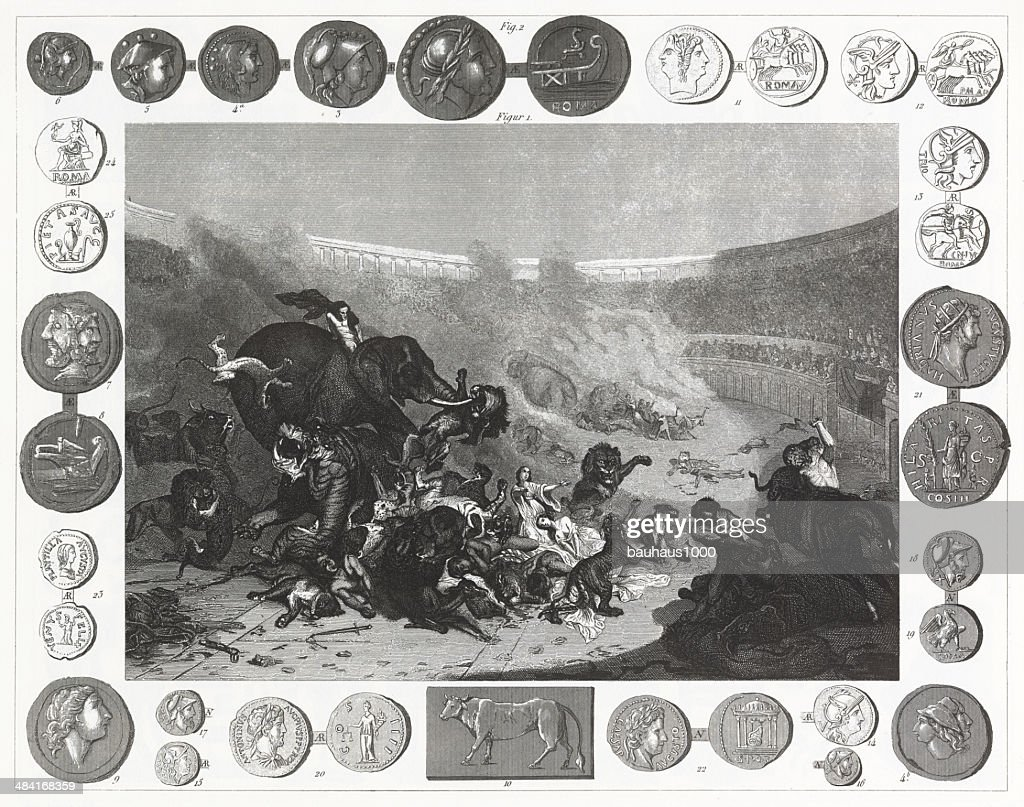 Roman Colisuem and Coins : stock illustration